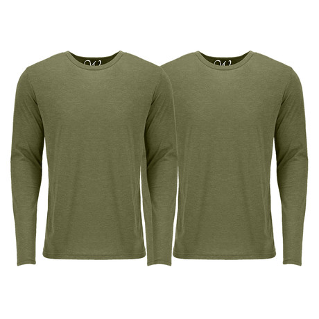 Ultra Soft Semi-Fitted Crew Neck Long Sleeve // Military Green + Military Green // Pack of 2 (S)