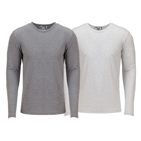 Ultra Soft Semi-Fitted Crew Neck Long Sleeve // Heather Gray + White // Pack of 2 (XL)