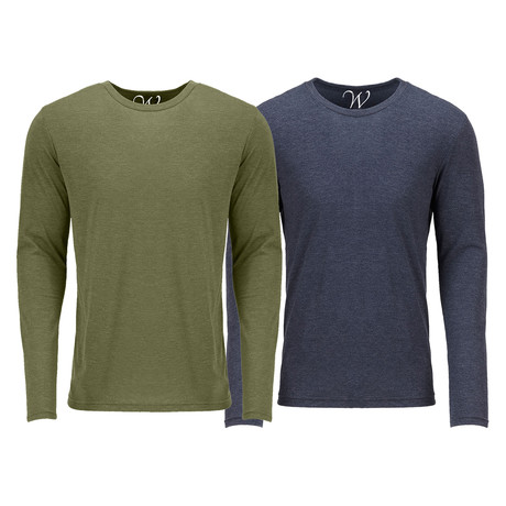 Ultra Soft Semi-Fitted Crew Neck Long Sleeve // Military Green + Navy // Pack of 2 (S)