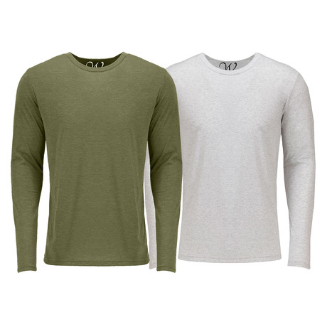 Ultra Soft Semi-Fitted Crew Neck Long Sleeve // Military Green + White // Pack of 2 (S)