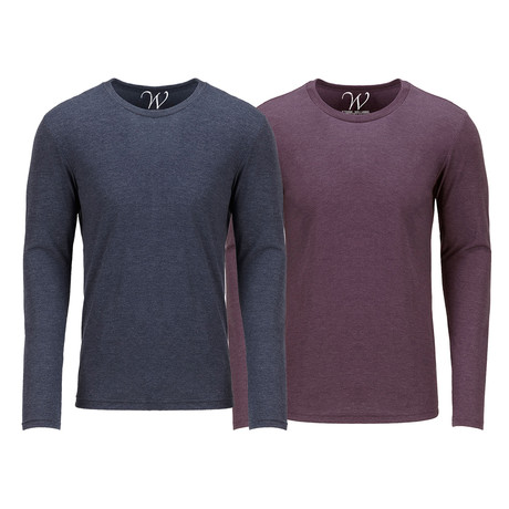 Ultra Soft Semi-Fitted Crew Neck Long Sleeve // Navy + Burgundy // Pack of 2 (S)