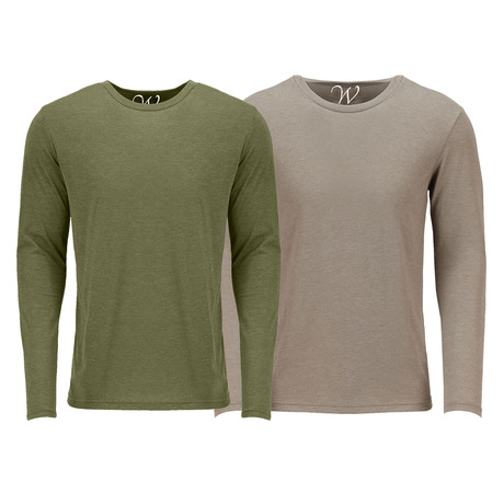 Ultra Soft Semi-Fitted Crew Neck Long Sleeve // Military Green + Sand // Pack of 2 (S)