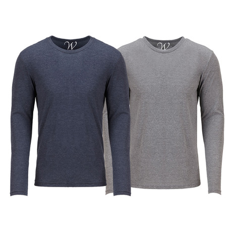Ultra Soft Semi-Fitted Crew Neck Long Sleeve // Navy + Heather Gray // Pack of 2 (S)