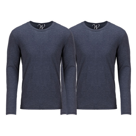 Ultra Soft Semi-Fitted Crew Neck Long Sleeve // Navy // Pack of 2 (S)
