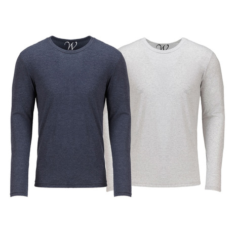 Ultra Soft Semi-Fitted Crew Neck Long Sleeve // Navy + White // Pack of 2 (S)