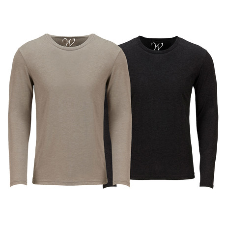 Ultra Soft Semi-Fitted Crew Neck Long Sleeve // Sand + Black // Pack of 2 (S)