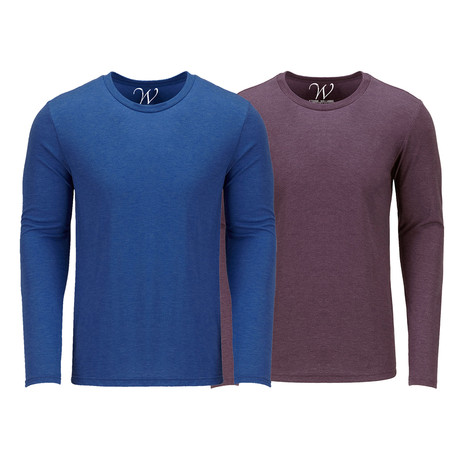 Ultra Soft Semi-Fitted Crew Neck Long Sleeve // Royal Blue + Burgundy // Pack of 2 (S)