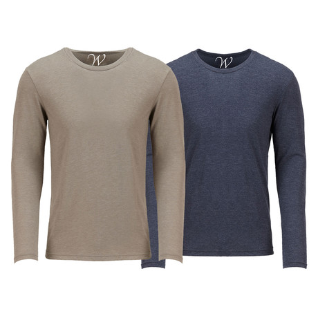 Ultra Soft Semi-Fitted Crew Neck Long Sleeve // Sand + Navy // Pack of 2 (S)