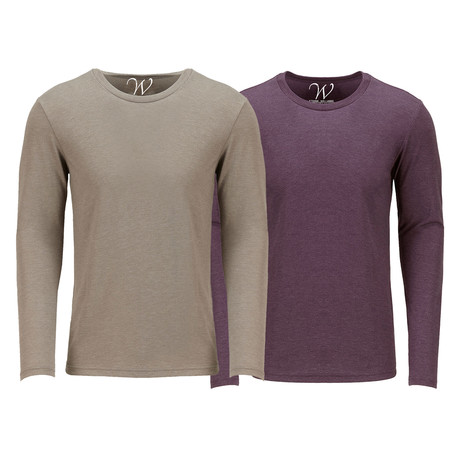 Ultra Soft Semi-Fitted Crew Neck Long Sleeve // Sand + Burgundy // Pack of 2 (S)