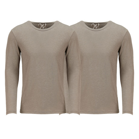 Ultra Soft Semi-Fitted Crew Neck Long Sleeve // Sand // Pack of 2 (S)