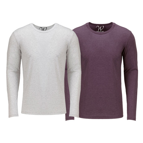 Ultra Soft Semi-Fitted Crew Neck Long Sleeve // White + Burgundy // Pack of 2 (S)