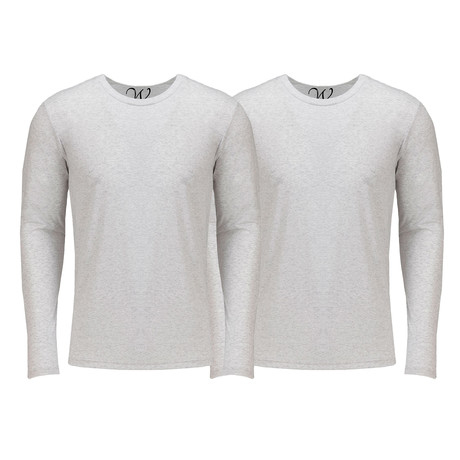 Ultra Soft Semi-Fitted Crew Neck Long Sleeve // White // Pack of 2 (S)