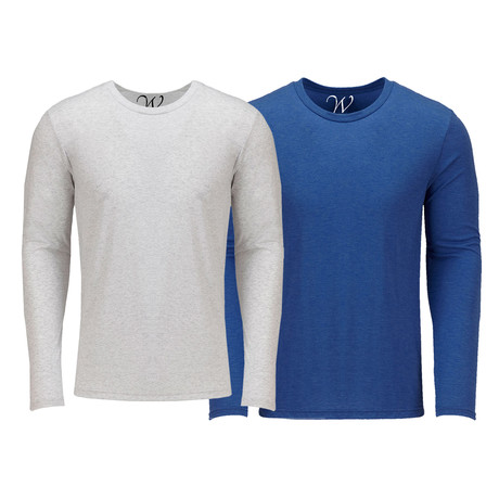 Ultra Soft Semi-Fitted Crew Neck Long Sleeve // White + Royal Blue // Pack of 2 (S)