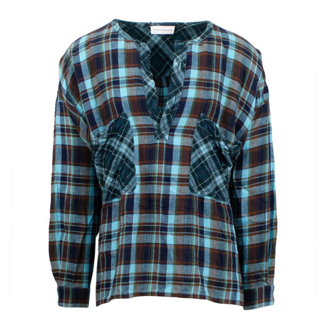 Faith Connexion // Men's Plaid Over Top Shirt // Blue (L)