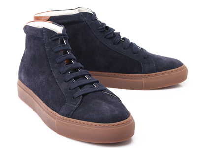 Photo of Brunello Cucinelli Exemplary Designer Footwear Leather + Canvas Ankle Sneaker // Denim Blue (Euro: 40) by Touch Of Modern