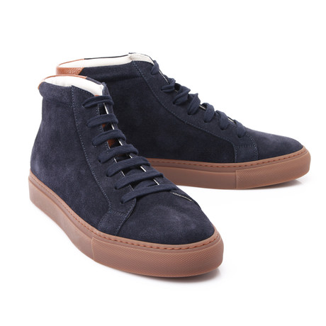 Leather + Canvas Ankle Sneaker // Denim Blue (Euro: 39)