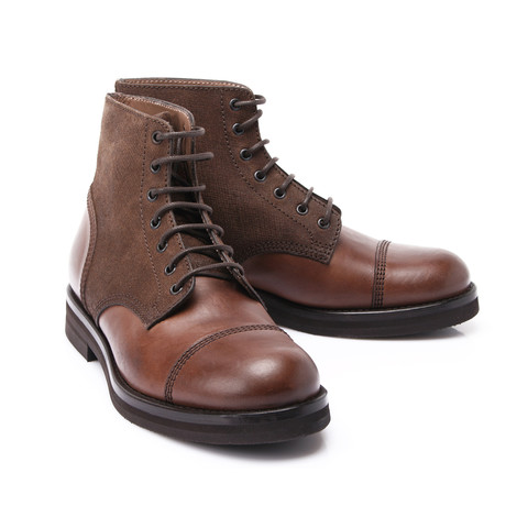 Leather Contrast Boot // Brown (Euro: 39)