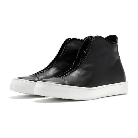 South Lane // Avant Raw High-Top Sneaker // Black + White (Euro: 36)