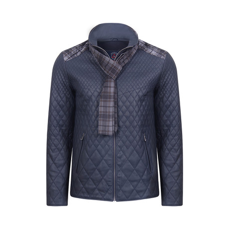 Paul Leather Jacket // Navy Tafta (S)