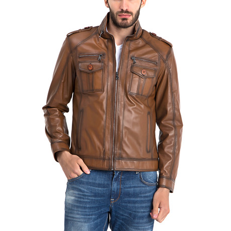 John Leather Jacket // Light Brown (S)