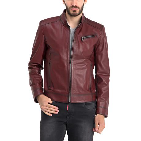 Johncen Leather Jacket // Bordeaux (M)