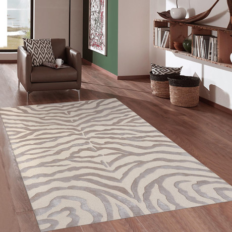 Tribeca Hand-Tufted Bamboo Silk & Wool Area Rug // Beige (5' x 8')