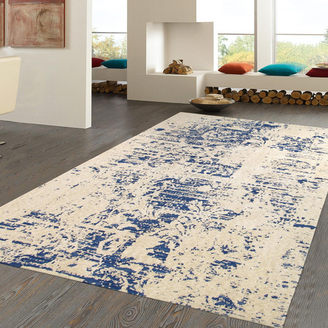 Tribeca Hand-Tufted Microfiber Area Rug // Beige + Blue (4' x 6')