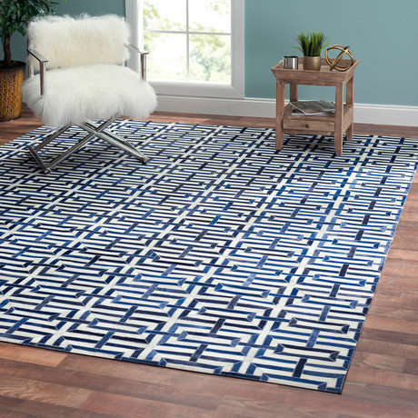 Tribeca Hand-Stitched Cowhide Area Rug // Blue + White (5' x 8')