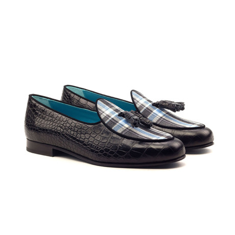 Belgian Slipper // Black + Grey + Blue (US: 5)