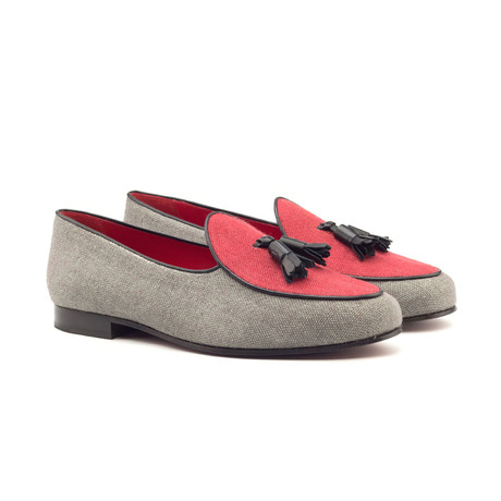 Belgian Slipper // Black + Grey + Red (US: 5)