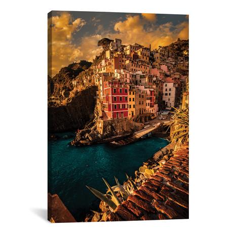 """Riomaggiore, Cinque Terre // Enzo Romano (12""""W x 18""""H x 0.75""""D)"""