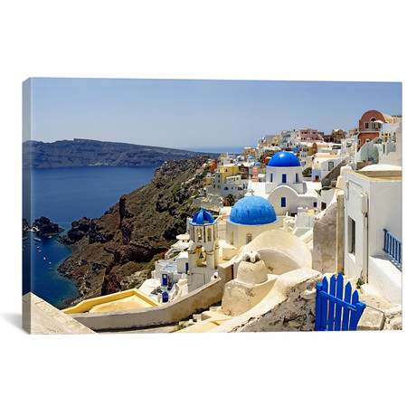 "High angle view of a church, Oia, Santorini, Cyclades Islands, Greece // Panoramic Images (18""W x 12""H x 0.75""D)"