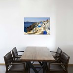 """High angle view of a church, Oia, Santorini, Cyclades Islands, Greece // Panoramic Images (18""""W x 12""""H x 0.75""""D)"""