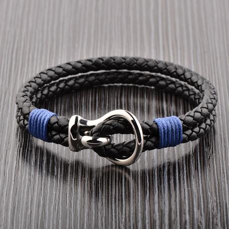 Braided Leather Bracelet // Silver + Black + Blue