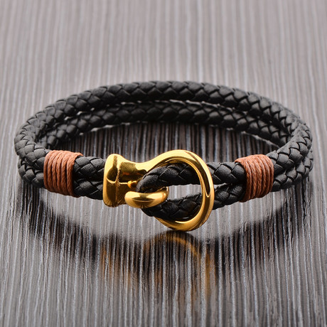 Braided Leather Bracelet // Gold + Black + Brown