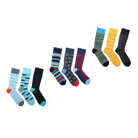 Crew Sock Combo Set // Vincent // 9 Pack