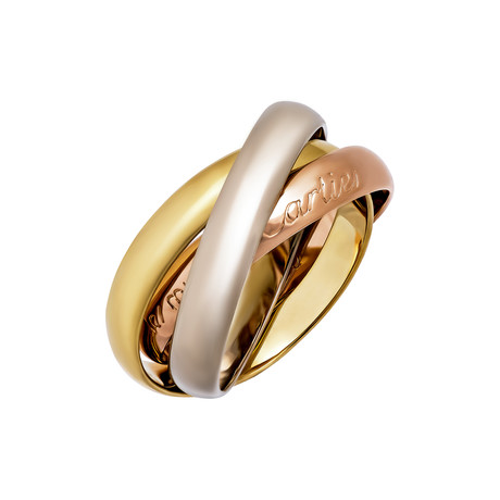 Vintage Cartier 18k Yellow Gold + 18k White Gold + 18k Rose Gold Trinity Ring (Ring Size: 5.25)
