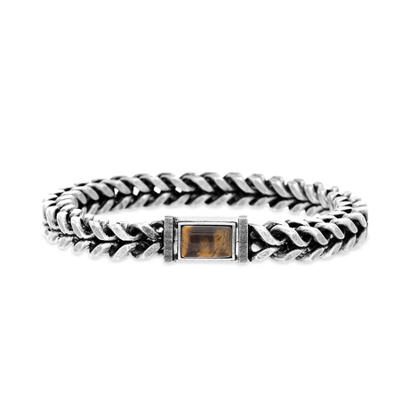 Steel Evolution // Tiger's Eye + Foxtail Chain Bracelet // Brown