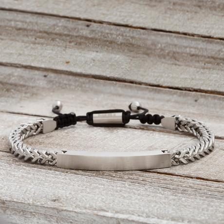 Square Bar Foxtail Chain Slider Bracelet // White