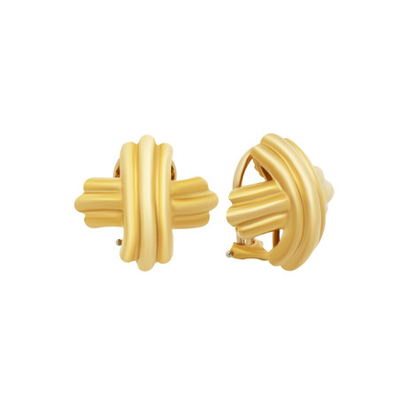 Vintage Tiffany & Co. 18k Yellow Gold Signature X Clip-On Earrings // 12.1 Grams