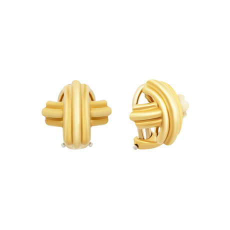 Vintage Tiffany & Co. 18k Yellow Gold Signature X Clip-On Earrings // 7.3 Grams