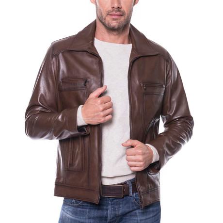 Mission Leather Jacket // Chestnut (XL)