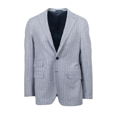Striped Wool Slim Trim2 Button Slim Trim Fit // Gray (Euro: 44S)