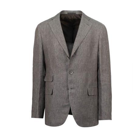 Linen Slim Trim 2 Button Slim Fit Suit // Brown (Euro: 44S)