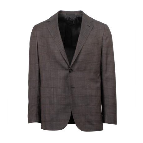 Plaid Wool Slim Trim 2 Button Slim Fit Suit // Brown (Euro: 44S)