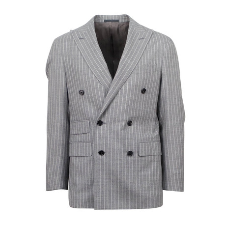Striped Wool Double Breasted Slim Trim Fit Suit // Gray (US: 44S)