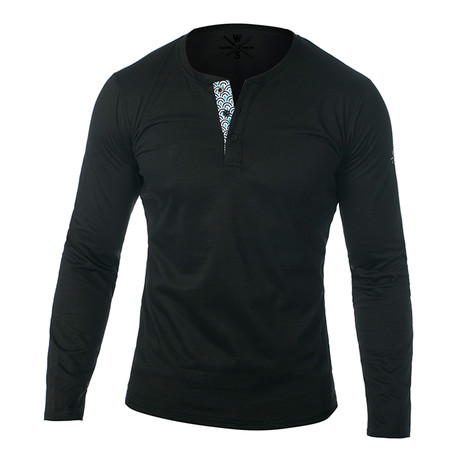 Samson Long Sleeve Henley // Black (S)