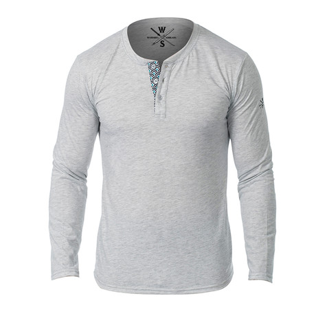 Samson Long Sleeve Henley // Light Heather Gray (S)