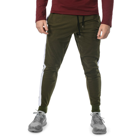 Racer Joggers // Olive + White (S)