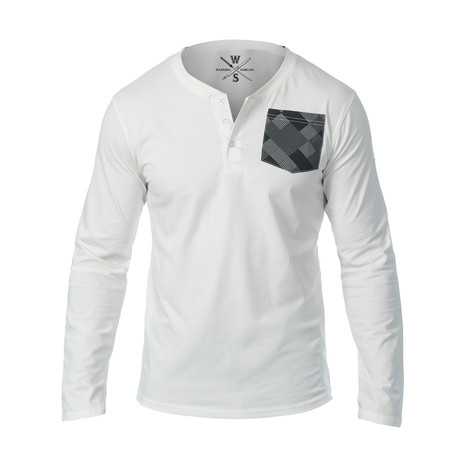 Super Lux Long Sleeve Henley // White (S)